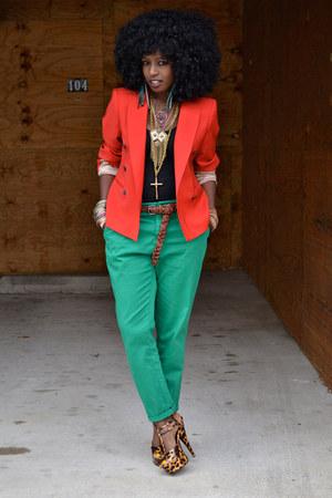 ruby red Zara blazer - aquamarine Zara pants