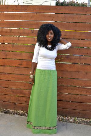 white Ralph Lauren top - chartreuse WeWe Clothing my brand skirt