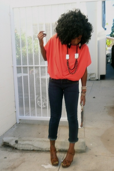 red Forever 21 blouse - navy Levis jeans