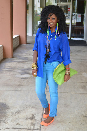 sky blue ankle jeans - blue sheer shirt - chartreuse American Apparel bag - carr