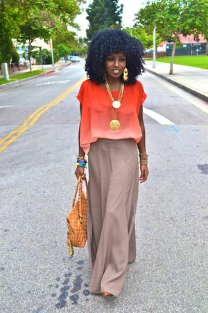 tan maxi skirt - carrot orange romwe blouse