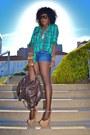 Turquoise-blue-plaid-shirt-blue-diy-shorts-nude-giuseppe-zanotti-wedges