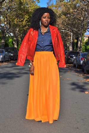 carrot orange Zara skirt - red Zara jacket - blue banana republic shirt
