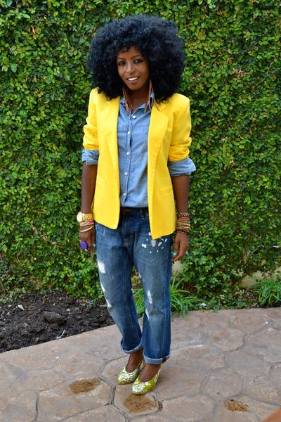 yellow vintage blazer - blue denim shirt