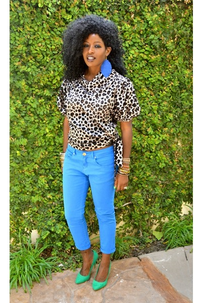 blue Zara jeans - bronze KemKemStudio blouse - aquamarine Electric Green heels