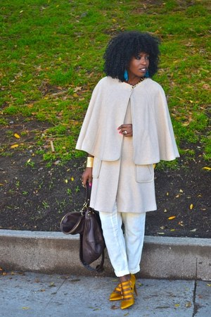 Jcrew pumps - free people pants - H&M cape
