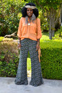 Carrot-orange-safari-shirt-camel-fringe-bag-gray-flare-pants