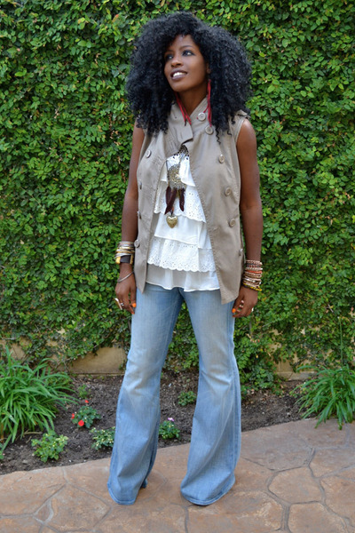 blue Bell Bottom jeans - ivory Layered Ruffle blouse - tan DIY trench vest
