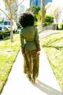Olive-green-vintage-jacket-light-brown-h-m-dress