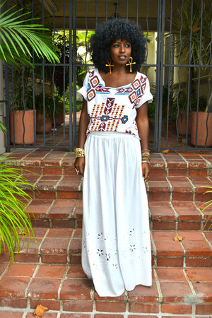white Aztec blouse - maroon Aztec blouse - white maxi skirt