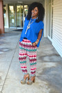 Blue-zara-kimono-shirt-red-zara-tribal-pants