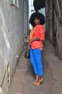 Blue-zara-jeans-carrot-orange-tuxedo-blazer-light-orange-zara-shirt