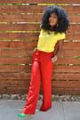 Red-mango-pants-yellow-romwe-shirt-chartreuse-zara-heels