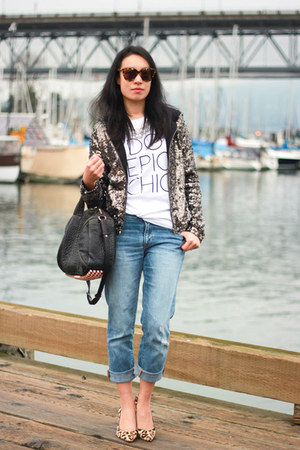white song of style eLUXE t-shirt - blue boyfriend Gap jeans