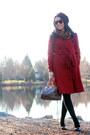 Ruby-red-trench-eshakti-coat-dark-brown-speedy-louis-vuitton-bag