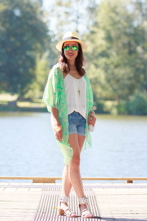 aquamarine kimono ami clubwear jacket - blue boyfriend Old Navy shorts