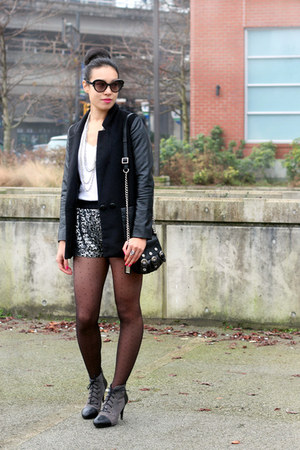 black leather sleeve H&amp;M blazer - silver sequin Zara shorts
