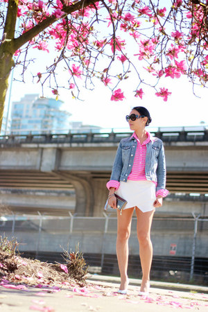 white skort Zara shorts - light blue denim H&amp;M jacket