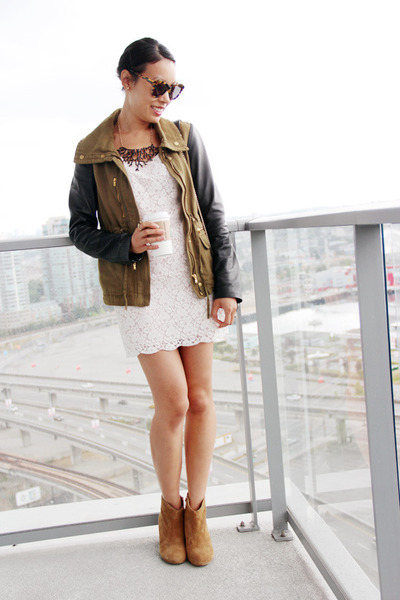 white lace wilfred dress - camel suede ankle Aldo boots - army green Zara jacket