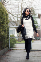ivory lace Sugarlips dress - black faux leather H&M jacket