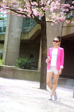 hot pink Zara blazer - silver sequin TOMS shoes - light pink Chanel bag