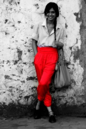 red pants Zara pants - black shoes Zara shoes - bf shirt CODE shirt