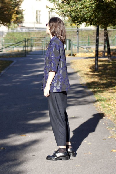 navy Topshop shirt - navy Topshop pants - black balenciaga loafers