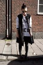black acne boots - black Goen J jacket - black acne bag - black Super sunglasses
