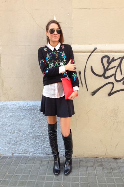 black cropped choiescom sweater - black Zara boots