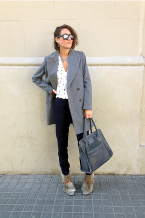 heather gray Zara coat - heather gray leather suede asoscom bag