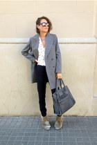 heather gray Zara coat - heather gray leather suede asoscom bag