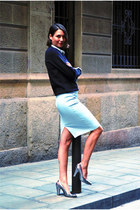 light blue pencil skirt Zara skirt - black neoprene H&M sweater