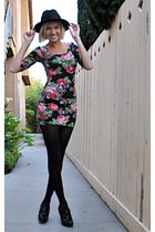 floral Wet Seal dress - vintage hat - Worthington heels