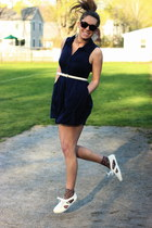 white vintage belt - navy Urban Outfitters dress