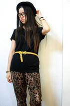 vintage belt - H&M hat - leopard print H&M pants