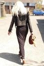 Black-h-m-dress-black-miss-selfridges-jacket-brown-nine-west-shoes-brown