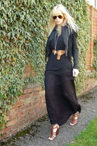 black H&M dress - black Miss Selfridges jacket - brown Nine West shoes - brown