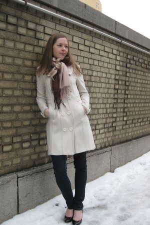 white H&amp;M coat - brown scarf - black payless shoes - blue Forever 21 jeans - Bye