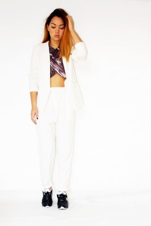 marble Zara top - white H&M blazer - Monki pants - nike sneakers