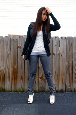 H&M top - thrifted top - Zara sweater - FREEDOM vest - Forever21 jeans