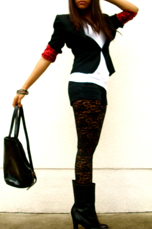 Zara blazer - random top - Forever21 shorts - Forever21 leggings - vintage Ferra