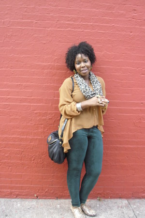 cut out back Audrey blouse - corduroy HUE leggings - H&M scarf