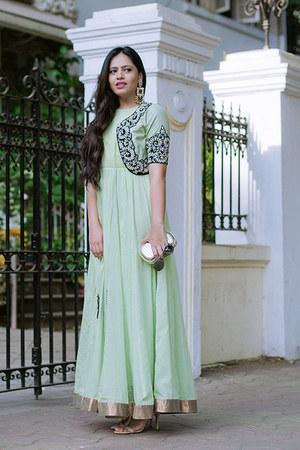lime green local designer dress - nude Zara shoes - navy local designer jacket