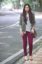 army green Zara jacket - maroon Zara jeans - brown vintage bag