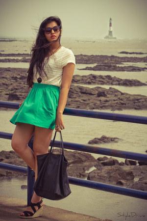 Zara shirt - Mango bag - Aldo wedges - Zara skirt