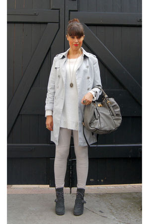 gray vintage coat - white GINA TRICOT blouse - gray GINA TRICOT leggings - gray