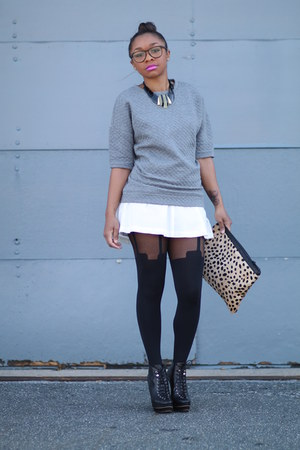 Forever 21 skirt - House of Holland tights - Love Cortnie bag
