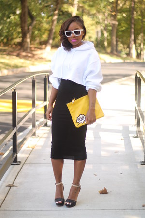 DIY hoodie - bcbg max azria dress - Love Cortnie bag - Aldo sunglasses