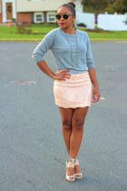 bcbg max azria skirt - JCrew sweater - Super sunglasses