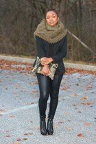 Gap scarf - ann taylor boots - Members Only leggings - Express blazer